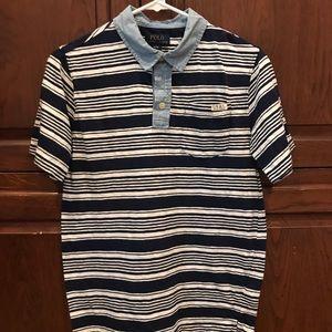 Boys sz L navy and white striped shirt
